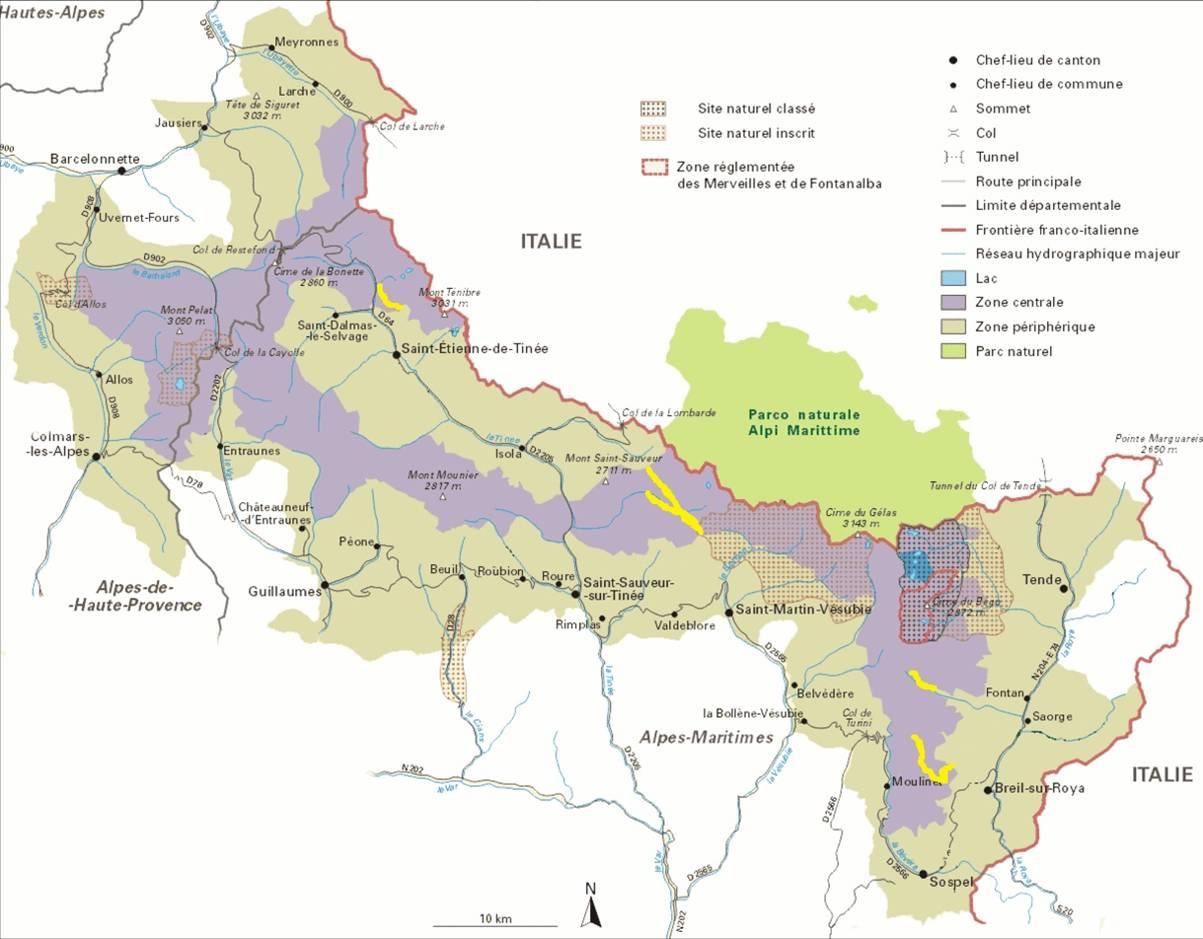 Vue générale du PNM avec les 5 incursions autorisées aux VTT